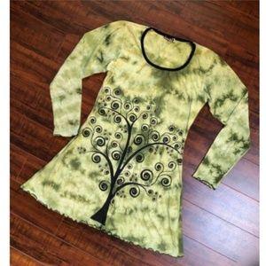 BoHo Stencil Embroidered Tie Dye Mini Dress Top M